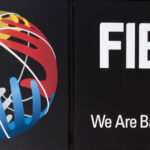 The logo of FIBA is seen on its new headquarters, House of Basketball, in Mies, Switzerland, on June 18, 2013.  AFP PHOTO / BORIS HEGER        (Photo credit should read BORIS HEGER/AFP via Getty Images)